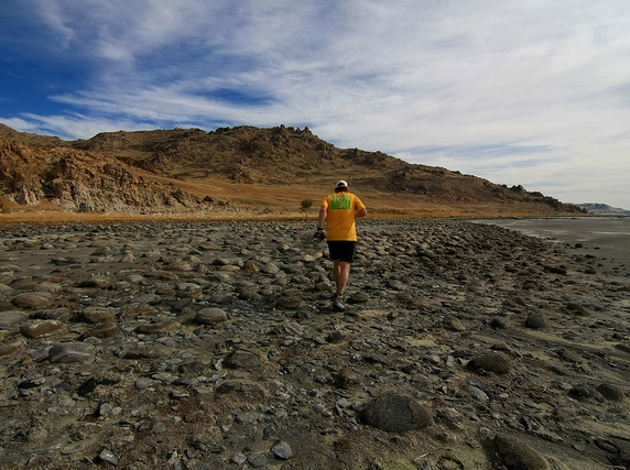 Running on the rough shore near the wagon road