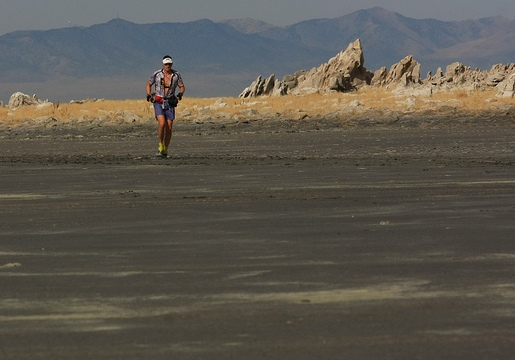 Phil Lowry out on the mud flats about a half hour ahead