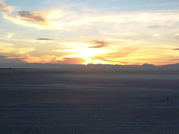Sunset over the Boneville Salt Flats