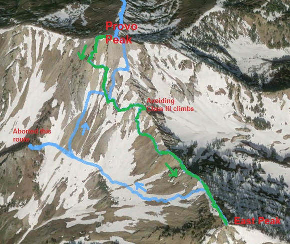My actual route between the peaks (put on Google Earth)
