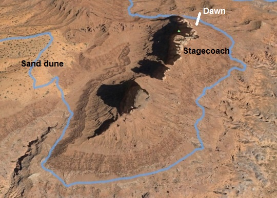 Route around Stagecoach to the sand dunes