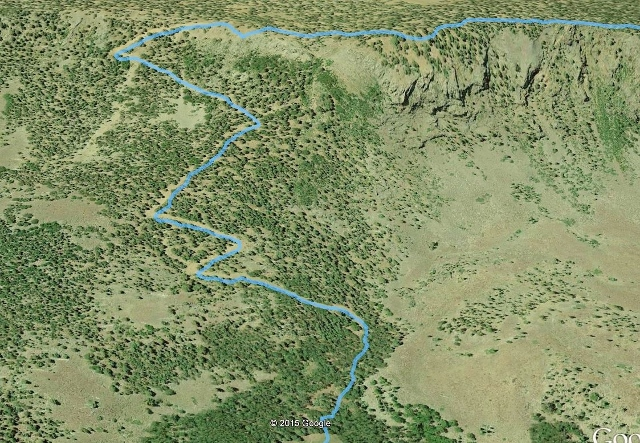 """The """"stock trail"""" route off the plateau"""